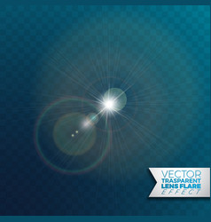 Realistic lens flare light effect on transparent vector
