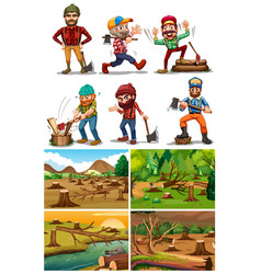 Deforestation scenes with lumber jacks vector