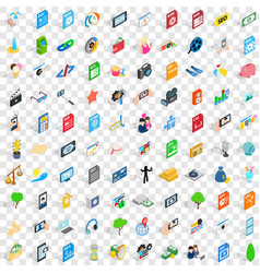 100 camera icons set isometric 3d style vector