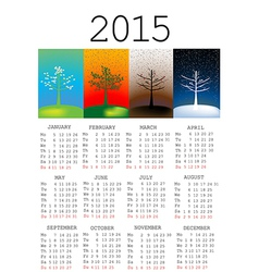 2015 calendar with seasons vector image