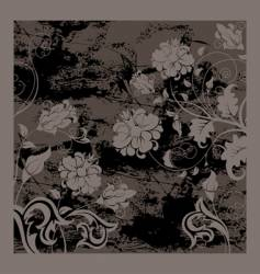 Black grunge background with flowers vector