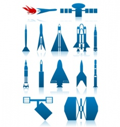 Icons of rockets vector