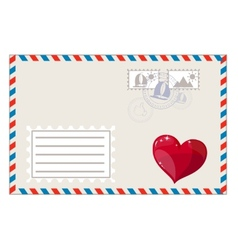 Blank envelope with heart and brands ready to ship vector