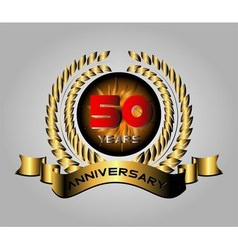 50 years anniversary golden label with ribbons vector