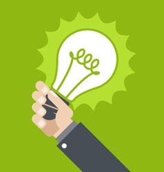 Innovation - shining lamp in hand vector