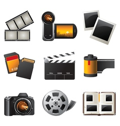 Photo and video icons set vector
