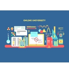 Online university design flat vector