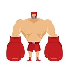 Boxer athlete in protective helmet strong man in vector