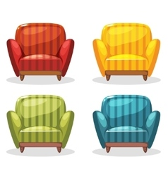 Armchair soft colorful homemade set 1 vector