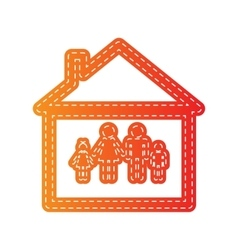 Family sign  orange applique isolated vector