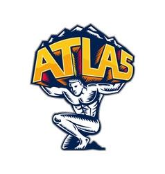 Atlas lifting mountain kneeling woodcut vector
