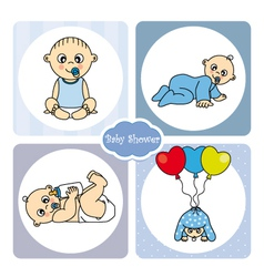 Baby boy arrival announcement card vector