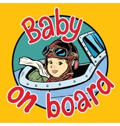 Baby on board pilot vector
