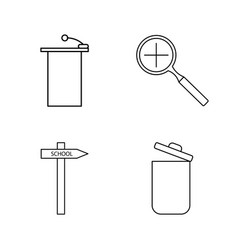 Basic content linear outline icon set vector