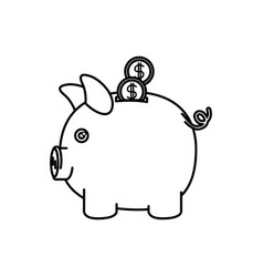 black silhouette of moneybox in shape of pig with vector image