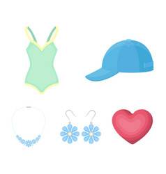 Cap earrings necklace swimsuit clothing set vector