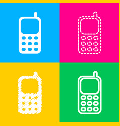 Cell phone sign four styles of icon on four color vector