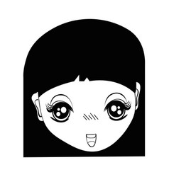 contour pretty girl face with hairstyle and vector image vector image