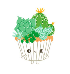 cupcake character with creamy succulents vector image vector image
