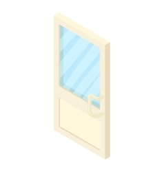 Door with glass icon cartoon style vector image vector image