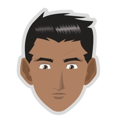 face of young dark skin man icon vector image