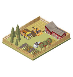 Farm vehicles isometric design vector