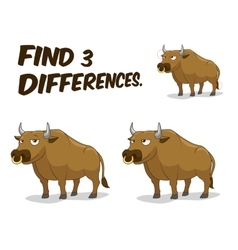 Find differences game bull vector image vector image