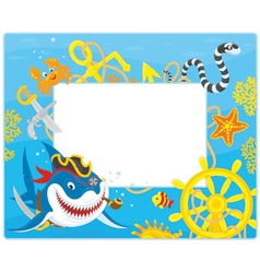 Frame with a pirate shark vector image