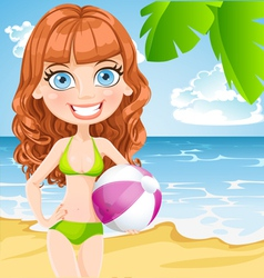 Girl with an inflatable ball on sunny beach vector image