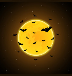 halloween flying bat moon background vector image