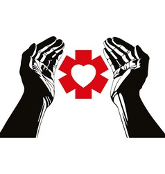 Hand with heart and emergency symbol symbol vector