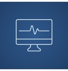 Heart beat monitor line icon vector