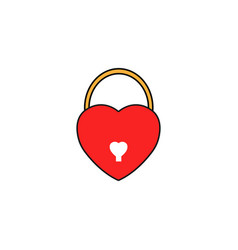 Lock heart shaped solid icon love sign valentines vector