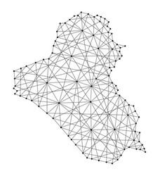 Map of iraq from polygonal black lines and dots vector