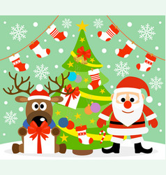 new year background card with santa claus vector image vector image