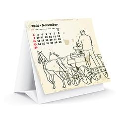 November 2014 desk horse calendar - vector image
