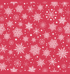 Pink red hand drawn christmass snowflakes vector
