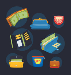 purse wallet with money ico for shopping vector image vector image