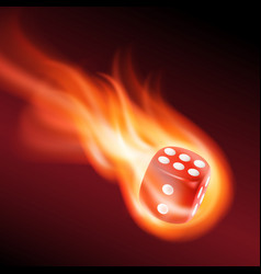 Red dice in fire vector