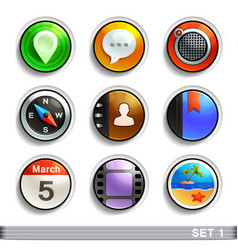 round button icons-set 1 vector image vector image