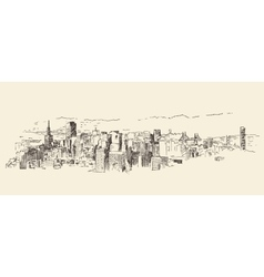 San francisco city architecture vintage engraved vector