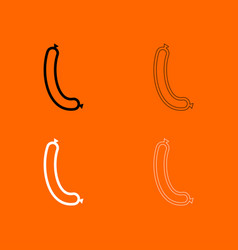 Sausage black and white set icon vector