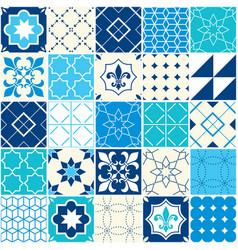 seamless blue tile pattern azulejos tiles vector image vector image