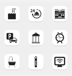 Set of 9 editable hotel icons includes symbols vector