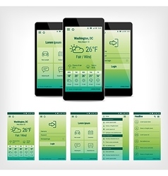 set of green mobile user interface design vector image