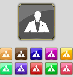 Silhouette of man in business suit icon sign Set vector image vector image