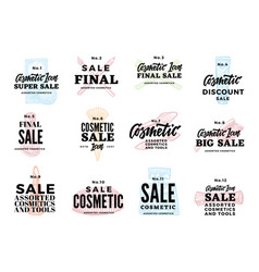 sketch cosmetic logotypes set vector image