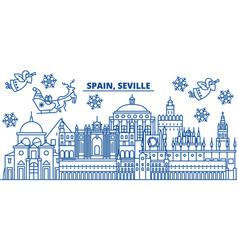 spain seville winter city skyline merry vector image