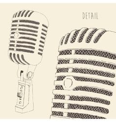 Studio microphone vintage engraved retro vector