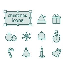 Thin line icons set christmas vector